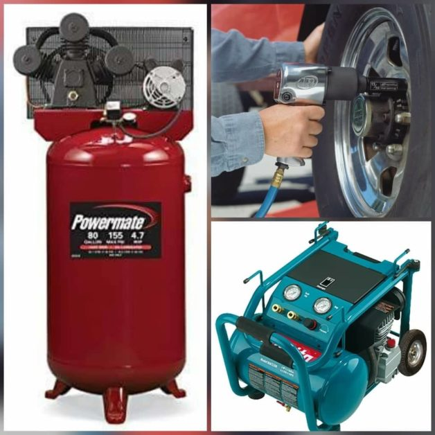 An Impact Wrench in Action and two Air Compressor.