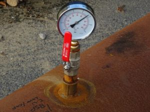 Air Compressor Pressure Gauge Showing Pressure
